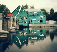 Es gibt so viele beeindruckende Street Artists, dass sie sich schon was Außergewöhnliches einfallen lassen müssen, um aus der Masse herauszustechen. Der Künstler Ray Bartkus hatte die Idee, ein Haus mit Figuren zu bemalen, die auf dem Kopf stehen. Du fragst dich warum? Na, damit man alles im Spiegelbild des Gebäudes im vorbeifließenden Fluss wieder richtig sieht. (Caption at link)