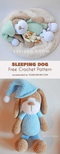 Sleeping Dog Amigurumi Free Crochet Pattern #freecrochetpatterns #amigurumipattern