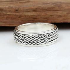 Men's Sterling Silver Tire Pattern Spinner Ring