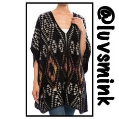 EYELASH KNIT SHAWL AZTEC PATTERN IN BLACK - M/L Let your inner trendsetter self strut your stuff in this soft, Ramie/Cotton knit shawl.  With a hook and eye closure, and two decorative buttons on each side; this Black shawl has dolman sleeve arm openings, eyelash design all over, and will be your favorite go to wardrobe piece.  Sized XS/S or M/L, no holds or trades; price is firm unless bundled. This listing is a size M/L in Black Trendology Couture Sweaters Shrugs & Ponchos
