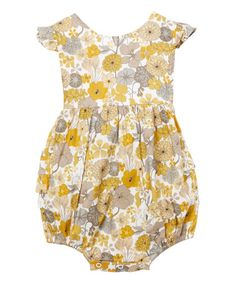 e7ffc0a6fd12 Tutus by Tutu AND Lulu Yellow   Gray Floral Angel-Sleeve Romper - Infant    Kids