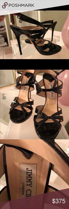 Jimmy Choo black patent leather heels Jimmy Choo heels worn once. Perfect condition. Jimmy Choo Shoes Heels