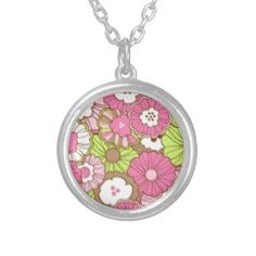Pretty Pink Green Flowers Spring Floral Pattern Necklaces