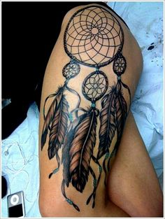 Dreamcatcher thigh tattoo