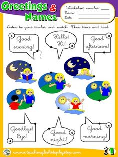 Greetings and Names - Worksheet 1