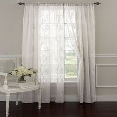 """Laura Ashley Frosting 84""""L Panel Pair, White"""