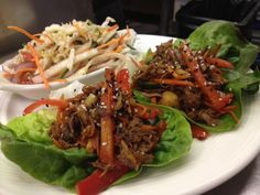 Spicy Duck Confit Butter Lettuce Wrap, Red Onion, Poblano, Carrots, Scallions and Sesame Dressing. #Crucafe #charleston