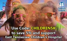 Color Me Rad Knoxville 2016 is April 9th but registration is now open! Use promo code: CHILDREN5K to save 5% on your ticket price and help support East Tennessee Children's Hospital. Register here: http://www.colormerad.com/location/knoxville/