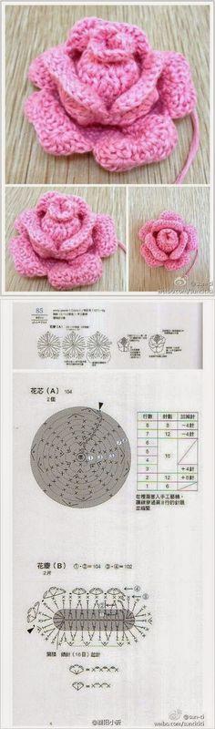 Rosa de crochê foto tutorial   Como fazer uma rosa de crochê       {imagem pinterest}