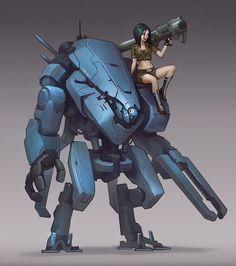 Mech and chick by Callergi on DeviantArt