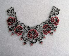 Red and Black Flower and Lace applique by TheIrishKnittingRoom Lace Applique, Patches, Charmed, Trending Outfits, Unique Jewelry, Handmade Gifts, Bracelets, Flowers, Red