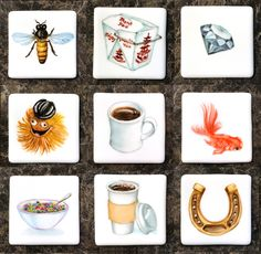 Refrigerator magnets- hand painted on porcelain square. Painted Porcelain, Hand Painted, Refrigerator Magnets, Coasters, Culture, Painting, Painting Art, Coaster, Paintings