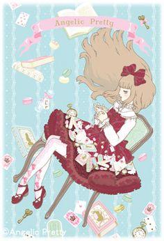 A tea time inspired Angelic Pretty illustration by Imai Kira / 今井キラ. #gothic #lolita