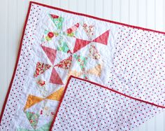 Baby Pinwheel Quilt- Red, Mint and Pink Scrumptious Baby Quilt Ready to Ship Now © SewEMG 2014 All Rights Reserved      The sweetest pastel colors and