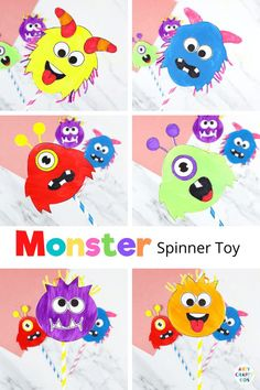 Printable Monster Spinner Craft: A fun, friendly and easy Halloween craft kids will love! Children will have a great time using their imaginations to create funny, silly monster faces and, once they've crafted their spinners, there's hours of fun to be had. Halloween Monster Crafts for Kids | Halloween Crafts for Kids | Puppet Crafts for kids | DIY Kids Toy | Easy DIY Toy Crafts for Kids to Make | Paper Spinner Craft for Kids | How to Make DIY Spinners for Kids #HalloweenCrafts…