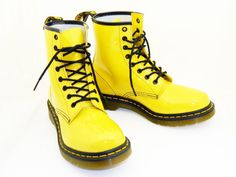 Yellow Dr Marten womens size 9 Patent Lamper Boots by RubesRelics, $79.25