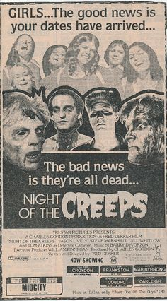 Vintage poster Night of the Creeps horror movie poster the bad news is they're all dead Horror Movie Posters, Horror Films, Horror Art, Sci Fi Movies, Scary Movies, Fantasy Movies, Cult Movies, Theater, The Frankenstein