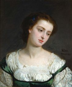 """""""Portrait of a Young Woman"""" by Edward Harrison May (1862) at the Smithsonian American Art Museum, Washington DC - From the curators' comments: """" The girl's tilted head, wide eyes, and slightly parted lips create an idealized image that is both classical and melancholy. Her dark hair and rich green dress emphasize the porcelain skin of her bare throat, reinforcing the nineteenth-century idea of women as fragile creatures."""""""