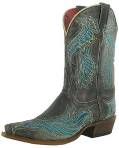 Macie Bean Western Boots Womens Cowboy Wing Snip Toe Black M8548 -- Check out this great product.