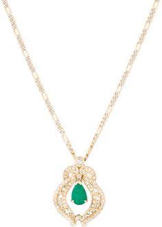 Emerald Drop & Diamond Pendant Necklace on shopstyle.com