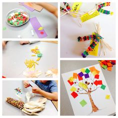 Fall ideas for preschool- ~Patterning with foam leaves ~ Tissue paper trees with finger paint acorns  ~ Fine motor sort out fall color beads- use to make Indian corn pins ~ fall necklaces - pattern pasta, foam leaves, real leaves or paper leaves onto twine.