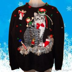 c8f5ce419 Totally Bizarre UGLY CHRISTMAS CAT SWEATER! Words Cannot Describe! Mens L  #Handmade #Christmas