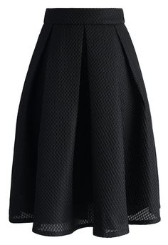 Black Waffle Pleated Midi Skirt
