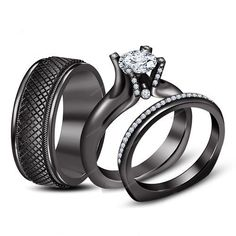 VVS1 Diamond Tension Setting Black Gold Finish Couple Engagement Trio Ring Set…