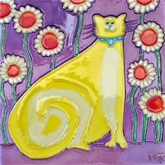 Yellow Cat Sitting -  Ceramic Art