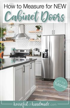Do you know what the difference between inset and overlay doors is? How about the different types of cabinet door hinges? Or how about what size cabinet doors to buy? This article breaks it all down so you can successfully plan your new cabinet doors. Housefulofhandmade.com #CabinetDoors #DIY #KitchenDesign Types Of Kitchen Cabinets, Cupboards, Budget Kitchen Remodel, Kitchen Makeovers, New Cabinet Doors, Kitchen Renovation Inspiration, Kitchen Design, Kitchen Decor, Layout