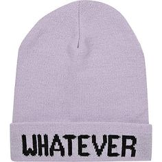 7eab94c1cd1 Light purple whatever beanie hat - River Island price  £10.00 Scarf Hat