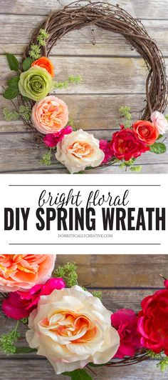 Brighten up your front door in minutes with this beautiful and easy DIY Spring floral wreath! Take away the Winter blues and welcome Spring with a pop of color!