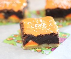 Shortbread Candy Corn Kissed Brownies - Picky Palate