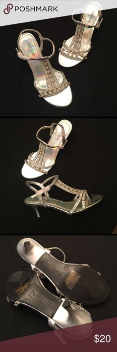 "Silver and Rhinestone Special Event Heel size 7 NWOT Silver Slipper 2"" special event heel. I don't have the original box. Bought these for an event and never wore them. Classy and will go with almost any special event dress. Low heel helps stay comfortable all night. Or be bold and put these on with your swim suit at a pool party! Silver Slipper Shoes Heels"