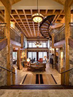 Kootenai Bay log and timber frame home designed by Jon Sayler Architect of Sandpoint, ID.