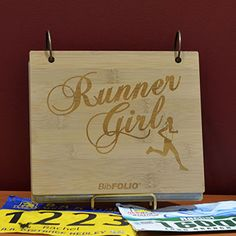 Engraved Bamboo Wood BibFOLIO Runner Girl - Finally a place to keep all those race bibs! As you add racing bibs and your collection grows it...