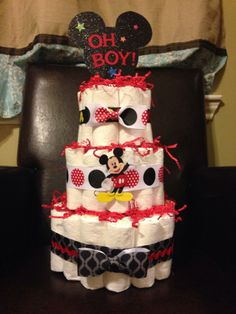 Mickey mouse theme diaper cake with bowties made out of regular ribbon!