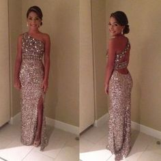 One Shoulder Beading Custom Made Prom Dresses,Long Evening Dresses,Prom Dresses On Sale, T141