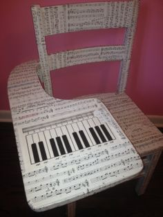 Musical Chair! A vintage school desk covered in sheet music! Look for the hidden musical instruments throughout;) shericonner@indy.rr.com Like Conner DesignWorks on FB