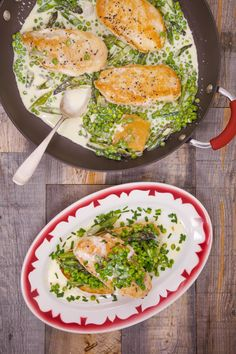 A one-dish meal that's as easy to make as it is yummy to eat: Creamy chicken with peas, asparagus, parmesan, and brandy!