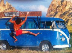 Excellent combination of two incredible things, climbing and vw split screen