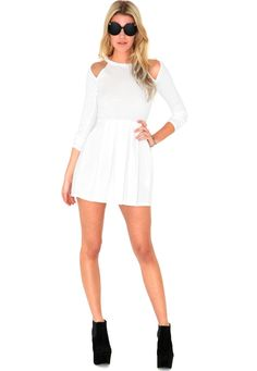 Gabriele Cut Out Shoulder Skater Dress In White £19.99