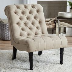 Accent Armless Chair Living Room Button Tufted Upholstered Fireside Furniture #Alcott #Modern