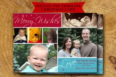 Christmas Holiday Card Template Instant Download by TheLudwigShop, $5.00