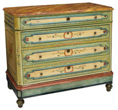 LOUIS PHILIPPE STYLE PAINTED COMMODE