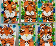 Kathy's Art Project Ideas: Tiger in The Jungle Inspired By Henri Rousseau Jungle Art Projects, Animal Art Projects, School Art Projects, Art Lessons For Kids, Art Lessons Elementary, Art For Kids, Henri Rousseau, Art Tigre, Rainforest Project