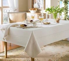 Waterford Linens Addison Linen Oblong 70 x 104in Table Cloth Pearl Ivory #Waterford