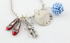 Wizard of Oz Charm Necklace - Dorothy - Tin Man - Scarecrow - Lion - Rainbow - Custom Personalized Silver Hand Stamped Necklace on Etsy, $20.00
