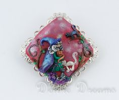 Pagan Wiccan Woodland Witch Cat Art Brooch  by DeidreDreams, $80.00