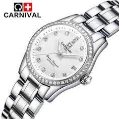 79.79$  Watch now - http://alix8m.shopchina.info/1/go.php?t=32811517191 - Luxury Brand Mechanical Women Watches Ladies Casual Waterproof Watch Female Clock Silver Stainless Steel Dress Watch relogio  #magazine